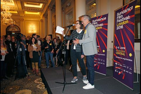 Sundance Film Festival Director John Cooper (R) and Director of Programming and Aquisitions at Picturehouse Cinemas Claire Binns (L) speak on stage at The Big Sundance London Party at the Langham Hotel on June 2, 2016 in London, England.